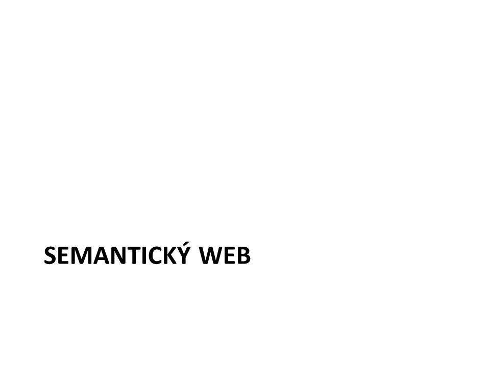 Semantický Web WWW – Tim Berners-Lee, CERN, univerzum propojených HTML stránek, prostor hyperlinkovaných dokumentů – Informace jsou zobrazeny (renderovány pomocí web.