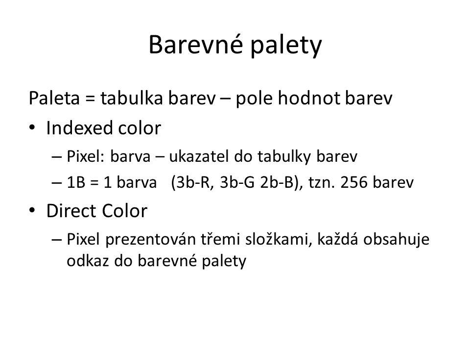 Barevné palety Paleta = tabulka barev – pole hodnot barev Indexed color – Pixel: barva – ukazatel do tabulky barev – 1B = 1 barva (3b-R, 3b-G 2b-B), t