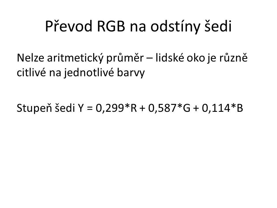 Převod RGB na odstíny šedi Nelze aritmetický průměr – lidské oko je různě citlivé na jednotlivé barvy Stupeň šedi Y = 0,299*R + 0,587*G + 0,114*B