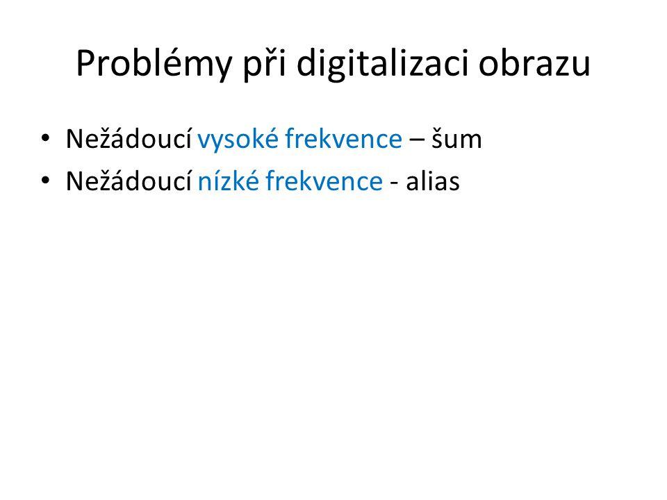 Problémy při digitalizaci obrazu Nežádoucí vysoké frekvence – šum Nežádoucí nízké frekvence - alias