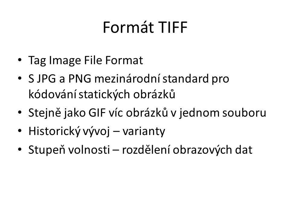 Formát TIFF Tag Image File Format S JPG a PNG mezinárodní standard pro kódování statických obrázků Stejně jako GIF víc obrázků v jednom souboru Histor