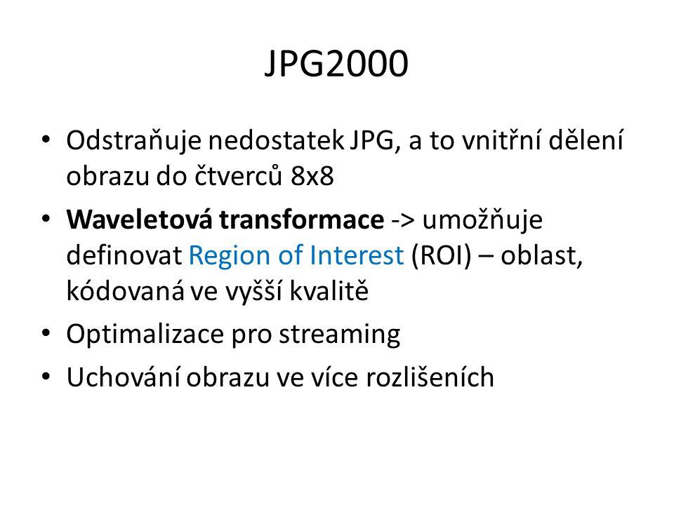 JPG2000 Odstraňuje nedostatek JPG, a to vnitřní dělení obrazu do čtverců 8x8 Waveletová transformace -> umožňuje definovat Region of Interest (ROI) –