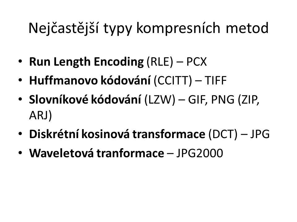 Nejčastější typy kompresních metod Run Length Encoding (RLE) – PCX Huffmanovo kódování (CCITT) – TIFF Slovníkové kódování (LZW) – GIF, PNG (ZIP, ARJ)
