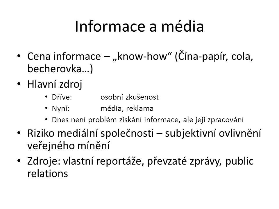 """Informace a média Cena informace – """"know-how"""" (Čína-papír, cola, becherovka…) Hlavní zdroj Dříve: osobní zkušenost Nyní:média, reklama Dnes není probl"""