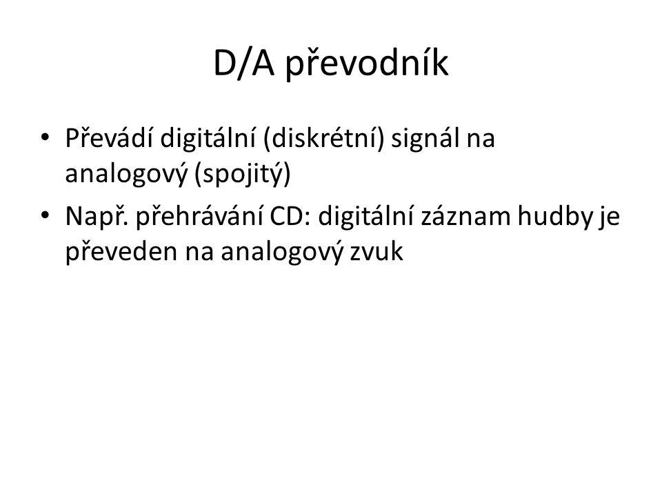 D/A převodník Převádí digitální (diskrétní) signál na analogový (spojitý) Např. přehrávání CD: digitální záznam hudby je převeden na analogový zvuk