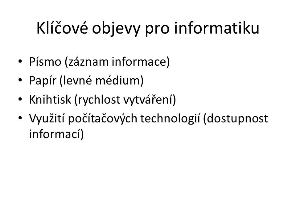 Klíčové objevy pro informatiku Písmo (záznam informace) Papír (levné médium) Knihtisk (rychlost vytváření) Využití počítačových technologií (dostupnos