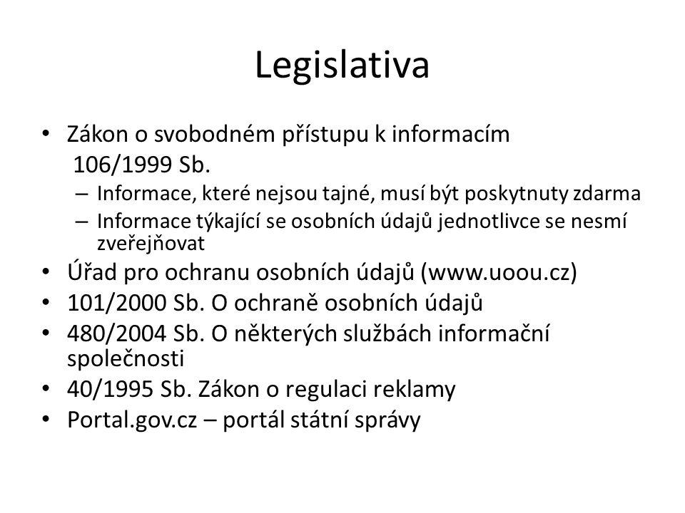 Legislativa Zákon o svobodném přístupu k informacím 106/1999 Sb. – Informace, které nejsou tajné, musí být poskytnuty zdarma – Informace týkající se o