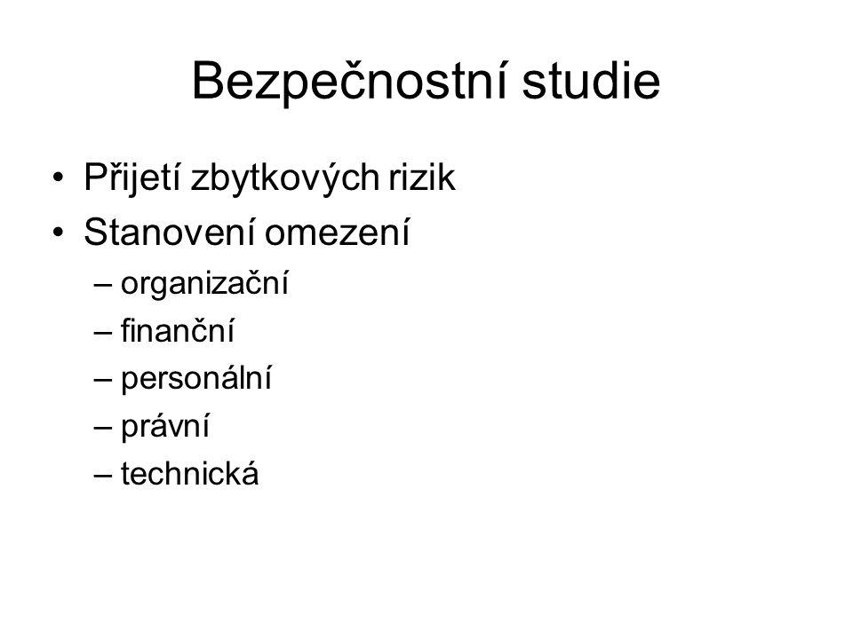 Bezpečnostní studie Přijetí zbytkových rizik Stanovení omezení –organizační –finanční –personální –právní –technická