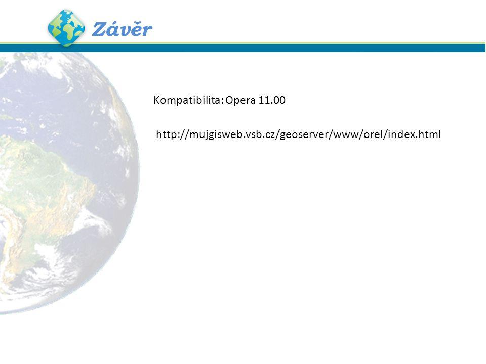 Závěr http://mujgisweb.vsb.cz/geoserver/www/orel/index.html Kompatibilita: Opera 11.00