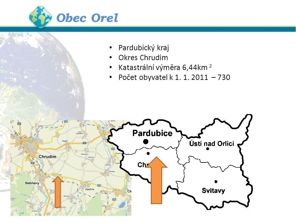 Obec Orel Pardubický kraj Okres Chrudim Katastrální výměra 6,44km 2 Počet obyvatel k 1.