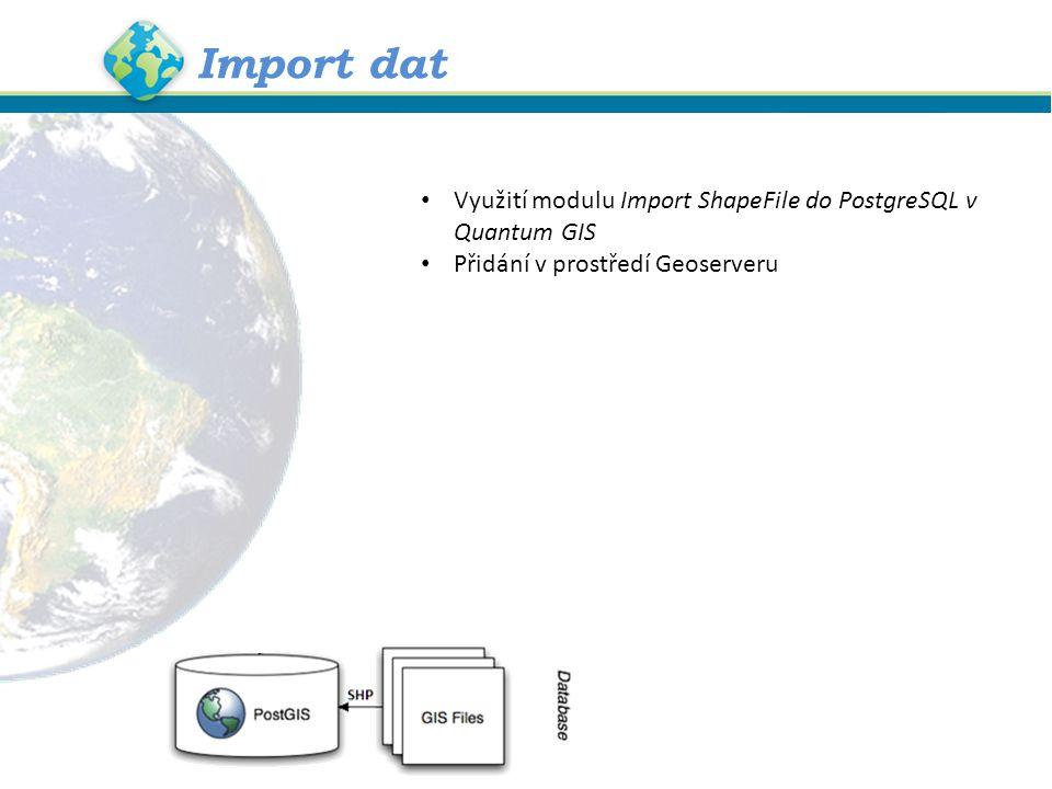 Import dat Využití modulu Import ShapeFile do PostgreSQL v Quantum GIS Přidání v prostředí Geoserveru