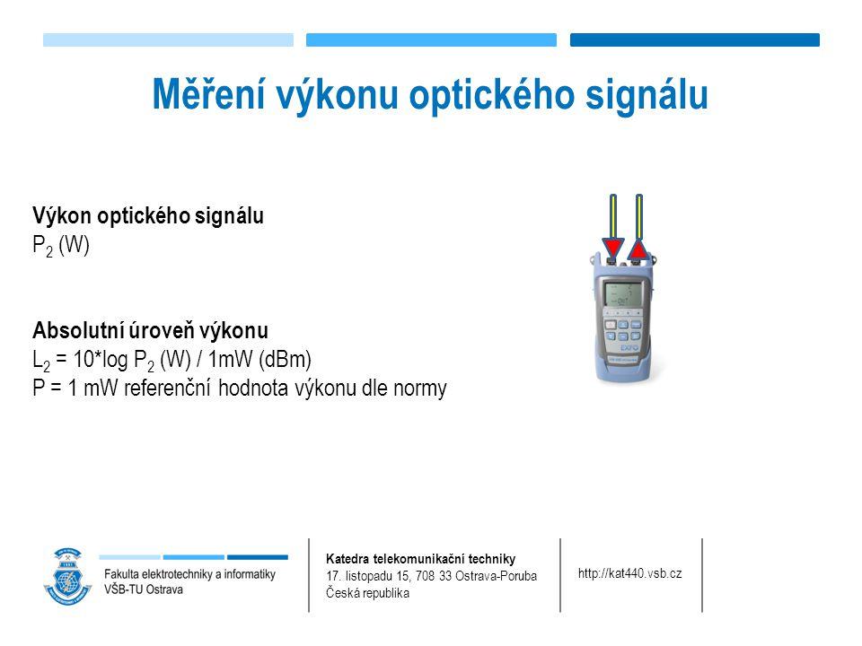 Katedra telekomunikační techniky 17. listopadu 15, 708 33 Ostrava-Poruba Česká republika http://kat440.vsb.cz Měření výkonu optického signálu Výkon op
