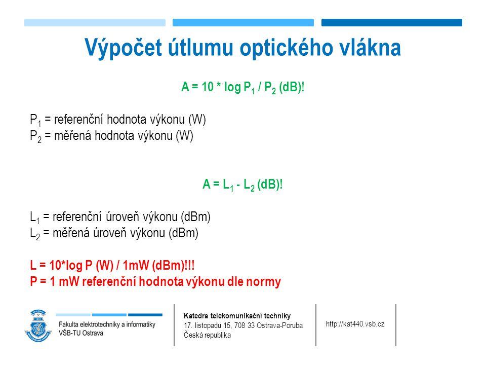 Katedra telekomunikační techniky 17. listopadu 15, 708 33 Ostrava-Poruba Česká republika http://kat440.vsb.cz A = 10 * log P 1 / P 2 (dB)! P 1 = refer