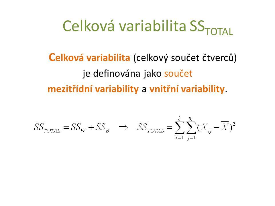 Celková variabilita SS TOTAL C elková variabilita (celkový součet čtverců) je definována jako součet mezitřídní variability a vnitřní variability.