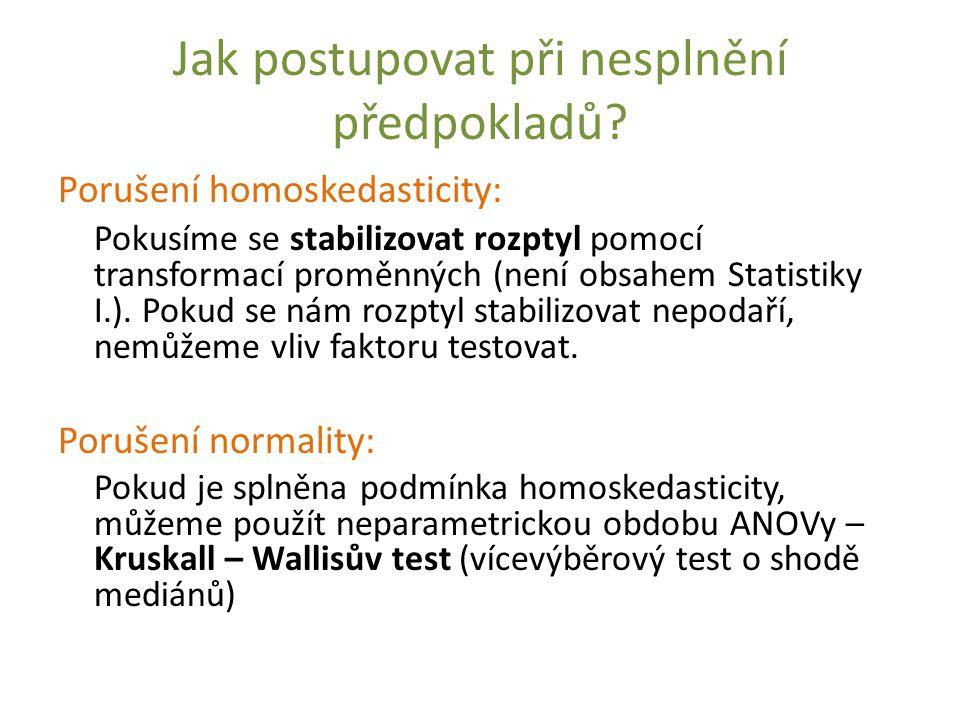 Jak postupovat při nesplnění předpokladů? Porušení homoskedasticity: Pokusíme se stabilizovat rozptyl pomocí transformací proměnných (není obsahem Sta