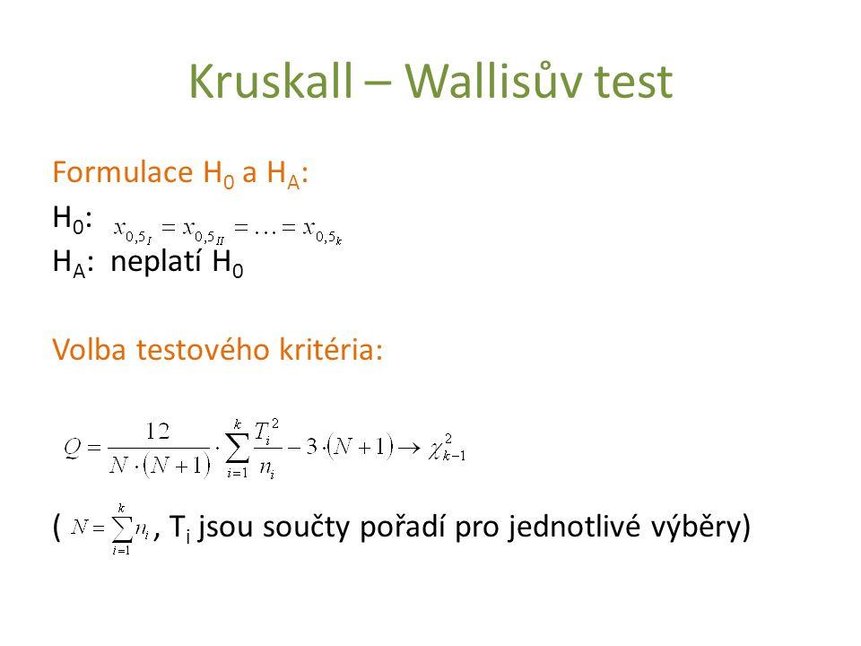 Kruskall – Wallisův test Formulace H 0 a H A : H 0 : H A : neplatí H 0 Volba testového kritéria: (, T i jsou součty pořadí pro jednotlivé výběry)