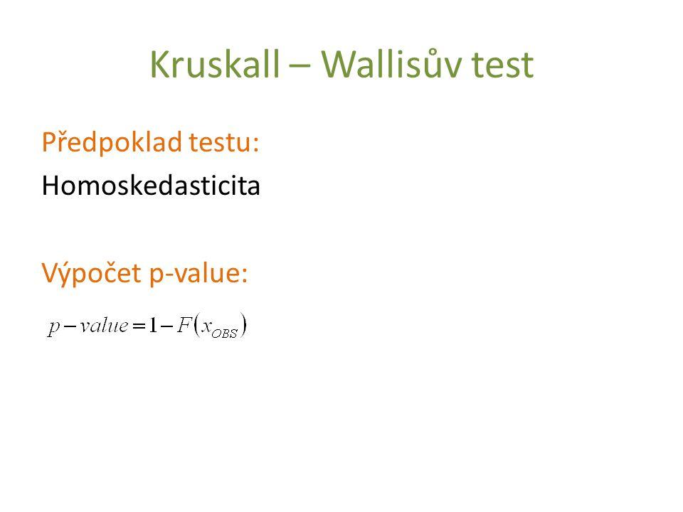 Kruskall – Wallisův test Předpoklad testu: Homoskedasticita Výpočet p-value: