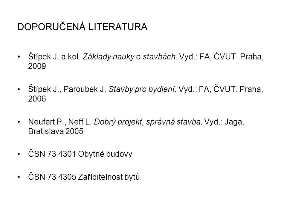 DOPORUČENÁ LITERATURA Štípek J. a kol. Základy nauky o stavbách. Vyd.: FA, ČVUT. Praha, 2009 Štípek J., Paroubek J. Stavby pro bydlení. Vyd.: FA, ČVUT