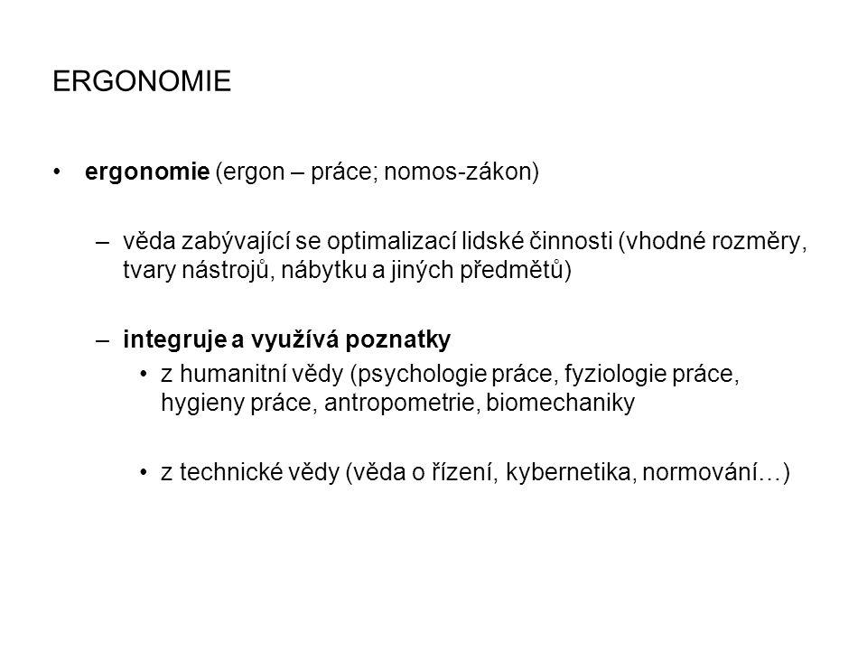ERGONOMIE ergonomie (ergon – práce; nomos-zákon) –věda zabývající se optimalizací lidské činnosti (vhodné rozměry, tvary nástrojů, nábytku a jiných př