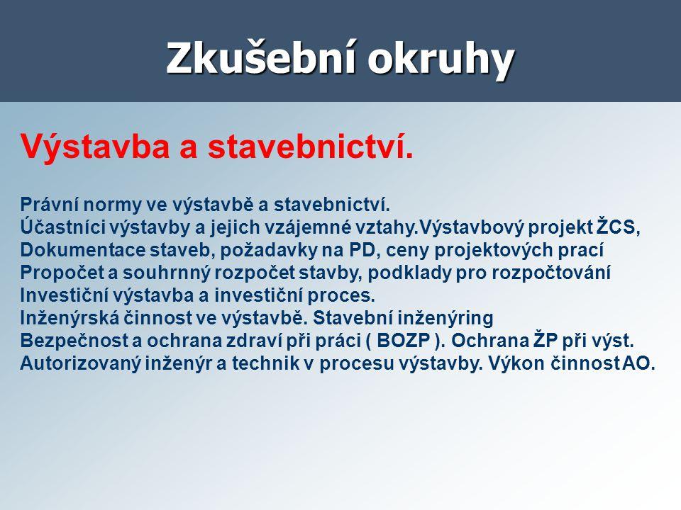 Zkušební okruhy Stavební podnik.Podnikání a podnik.