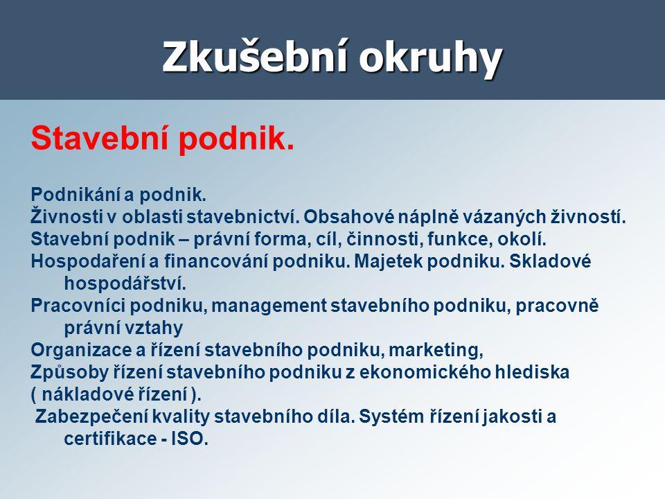 Zkušební okruhy Stavební podnik. Podnikání a podnik.