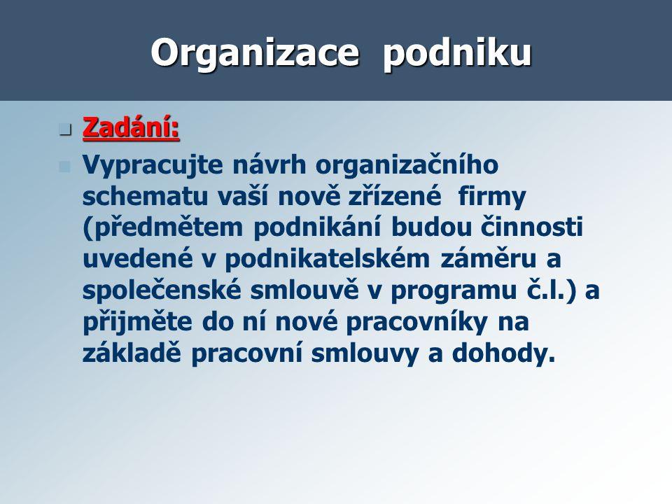 Organizace podniku a) Organizační schema malé stavební firmy ( s.r.o.