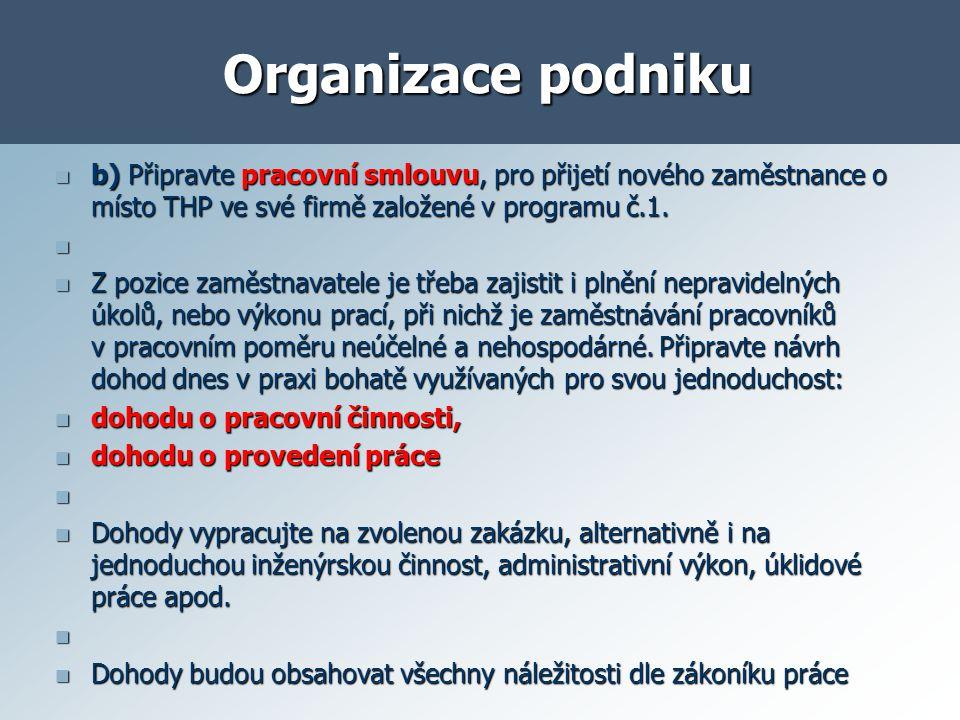 Organizace podniku Podklady: Obchodní zákoník, zákon č.