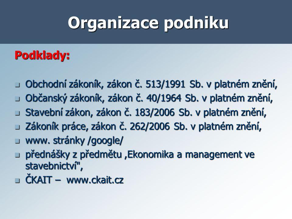Organizace podniku Vypracujte: Pracovní smlouvu, Pracovní smlouvu, Návrhy dohod o pracovní činnosti a provedení práce, Návrhy dohod o pracovní činnosti a provedení práce, Návrh organizačního schematu vaší nové firmy - grafické znázornění, náplň práce na jednotlivých pozicích, Návrh organizačního schematu vaší nové firmy - grafické znázornění, náplň práce na jednotlivých pozicích, Stručnou obecnou charakteristiku a zdůvodnění, kdy se který typ dohody používá.