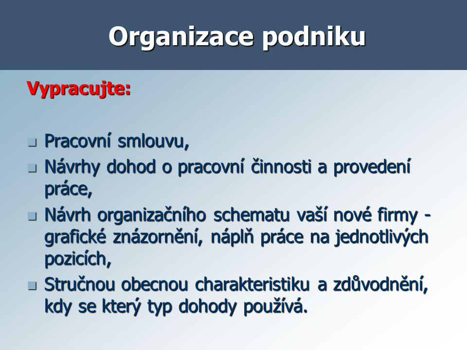 Organizace a řízení stavebního podniku Funkční oblasti podniku.
