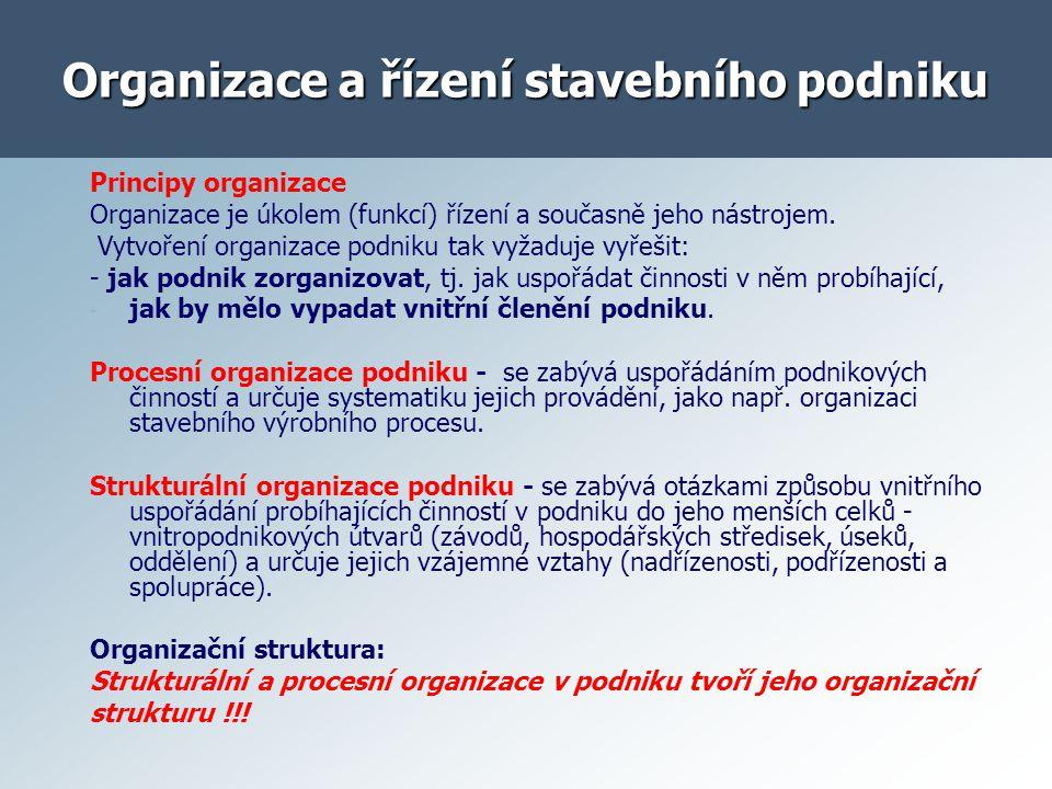 Organizace a řízení stavebního podniku Organizace podniku musí být uspořádaná tak, aby:.