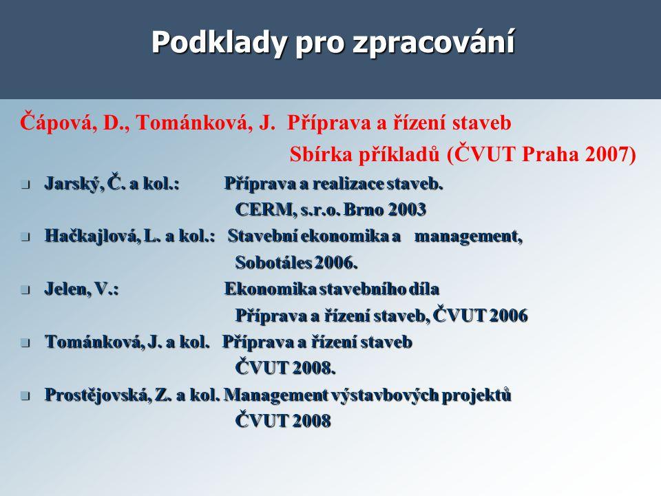 Podklady pro zpracování Čápová, D., Tománková, J.