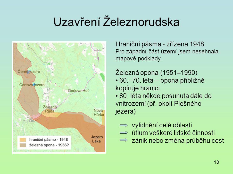 10 Uzavření Železnorudska Hraniční pásma - zřízena 1948 Pro západní část území jsem nesehnala mapové podklady.