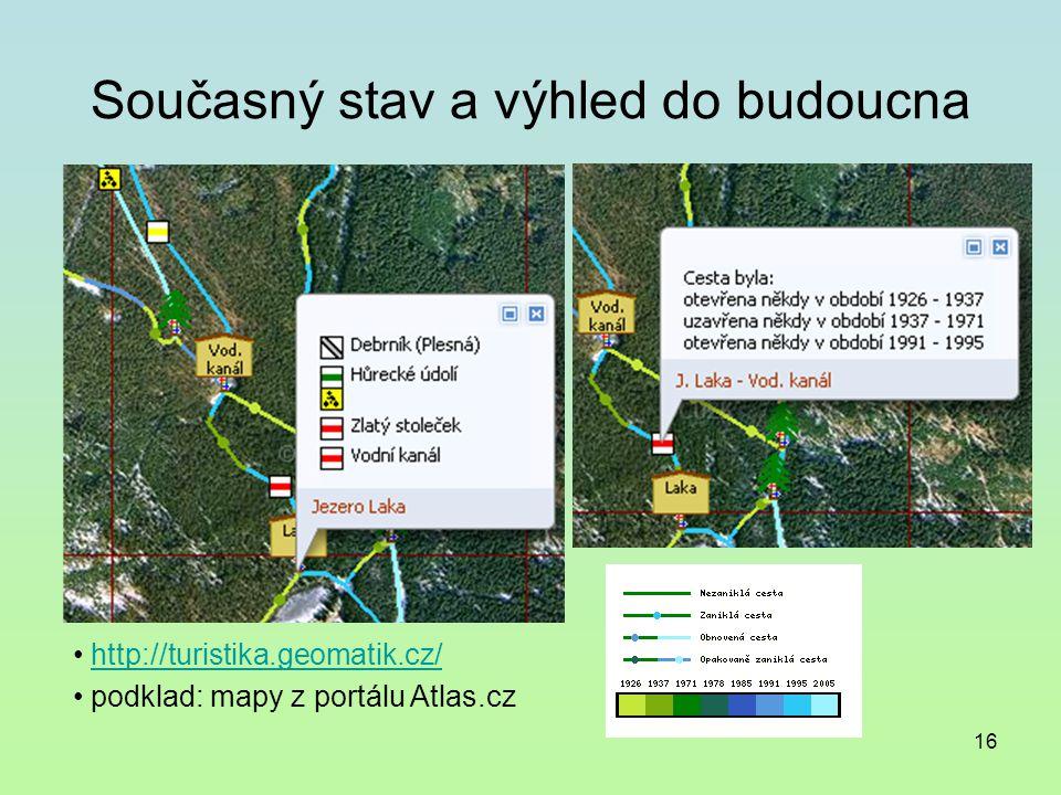 16 Současný stav a výhled do budoucna http://turistika.geomatik.cz/ podklad: mapy z portálu Atlas.cz