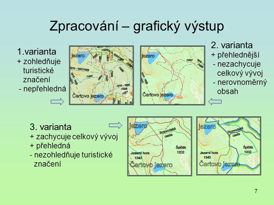 7 Zpracování – grafický výstup 1.varianta + zohledňuje turistické značení - nepřehledná 2.