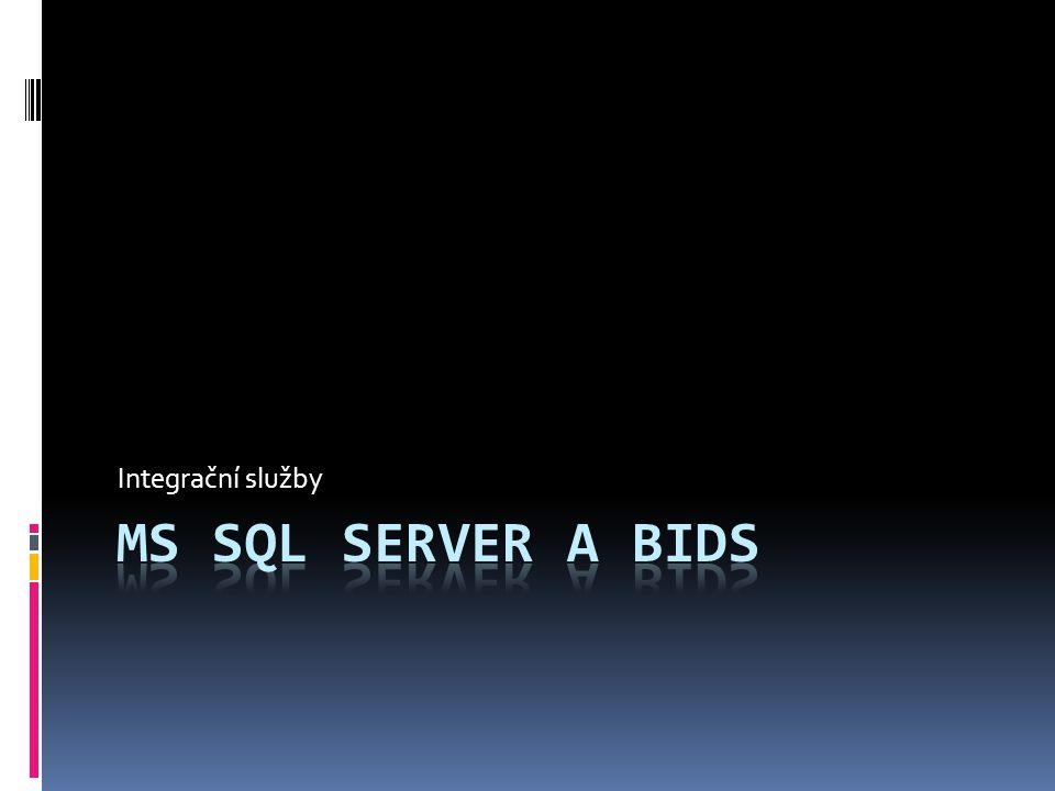 Osnova  Úlohy SQL Serveru  Integration Services  BIDS  Vytvoření balíčku  Záložky  Control Flows Task  Data Flows Task  Příklady  Zdroje