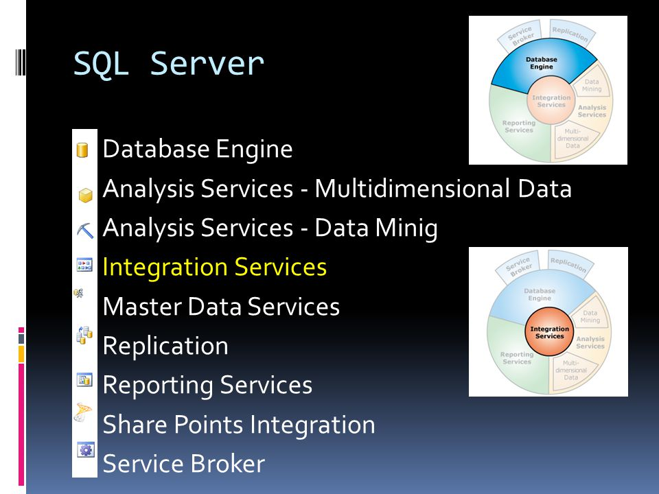 SQL Server  Database Engine  Analysis Services - Multidimensional Data  Analysis Services - Data Minig  Integration Services  Master Data Service