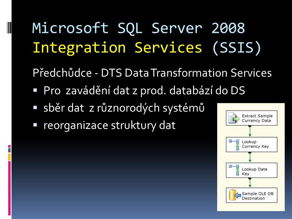 Microsoft SQL Server 2008 Integration Services (SSIS) Předchůdce - DTS Data Transformation Services  Pro zavádění dat z prod. databází do DS  sběr d