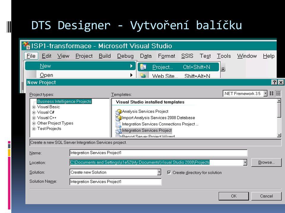 SSIS prostředí  Základní balíček obsahuje záložky  Control flow elements - řídicí toky  Data Flow Elements - datové toky  Event Handlers - řadiče událostí  Package Explorer - prohlížeč událostí