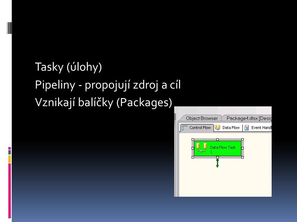 SSIS  Řídicí toky - procesy  Možné konce  Success - zelená,  Fail - červená,  Completion Result Control Flow Items Container Task Data Flow Task - další strana Data preparation Task Workflow Task SQL Server Task WMI Task Scripting Task...