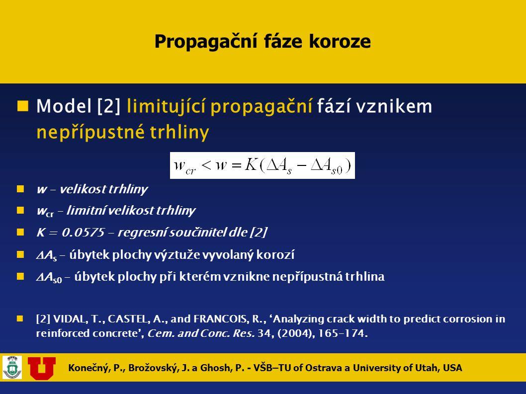 Konečný, P., Brožovský, J. a Ghosh, P. - VŠB–TU of Ostrava a University of Utah, USA Propagační fáze koroze Model [2] limitující propagační fází vznik