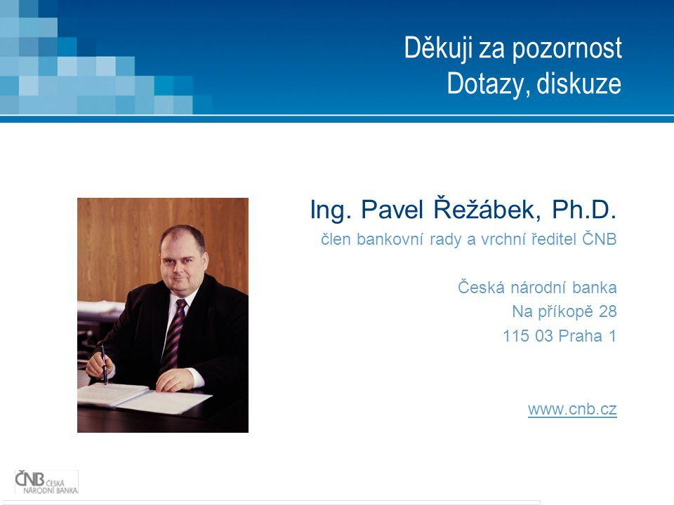 Děkuji za pozornost Dotazy, diskuze Ing. Pavel Řežábek, Ph.D. člen bankovní rady a vrchní ředitel ČNB Česká národní banka Na příkopě 28 115 03 Praha 1