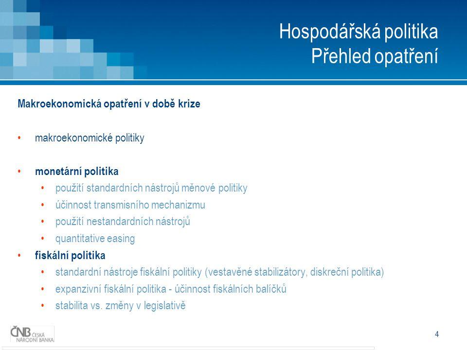 4 Hospodářská politika Přehled opatření Makroekonomická opatření v době krize makroekonomické politiky monetární politika použití standardních nástroj