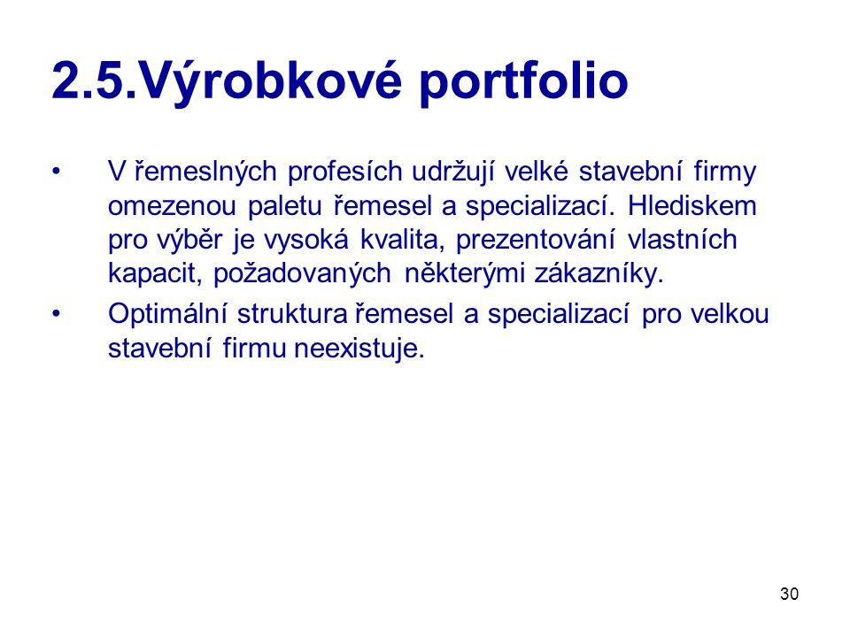30 2.5.Výrobkové portfolio V řemeslných profesích udržují velké stavební firmy omezenou paletu řemesel a specializací. Hlediskem pro výběr je vysoká k