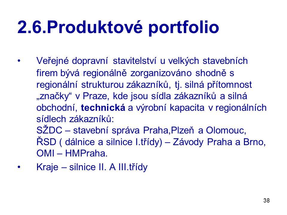 38 2.6.Produktové portfolio Veřejné dopravní stavitelství u velkých stavebních firem bývá regionálně zorganizováno shodně s regionální strukturou zákazníků, tj.