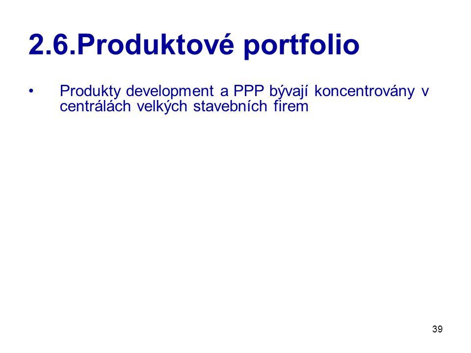 39 2.6.Produktové portfolio Produkty development a PPP bývají koncentrovány v centrálách velkých stavebních firem