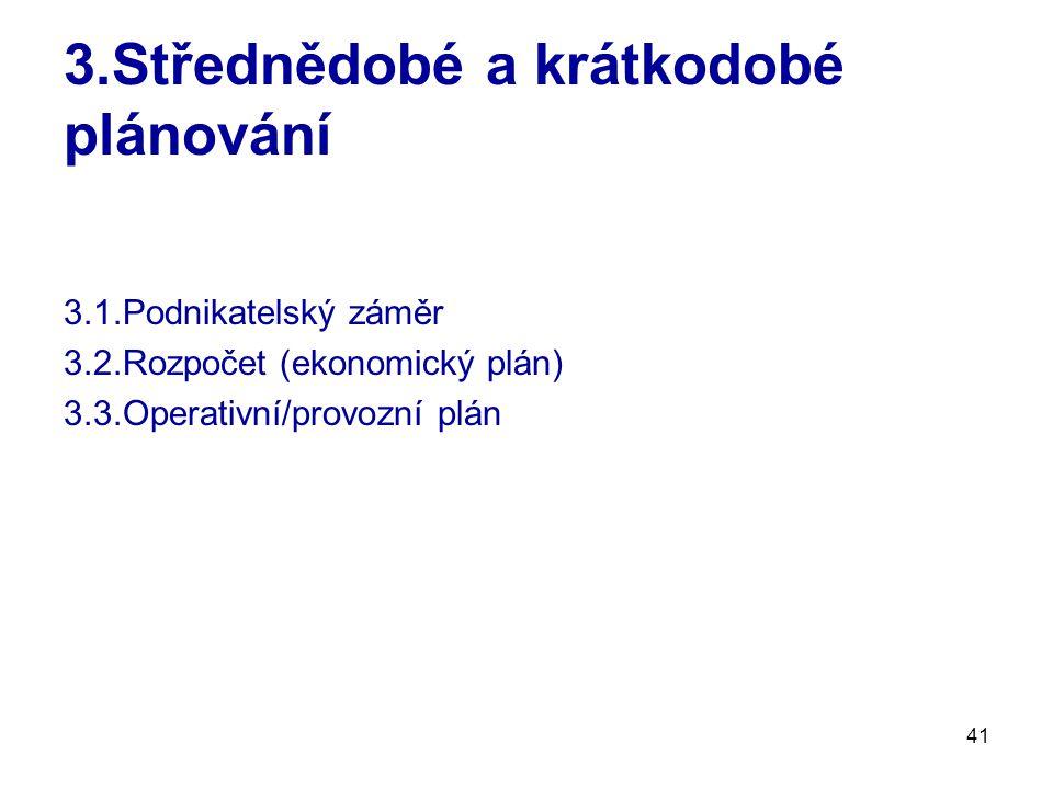 41 3.Střednědobé a krátkodobé plánování 3.1.Podnikatelský záměr 3.2.Rozpočet (ekonomický plán) 3.3.Operativní/provozní plán