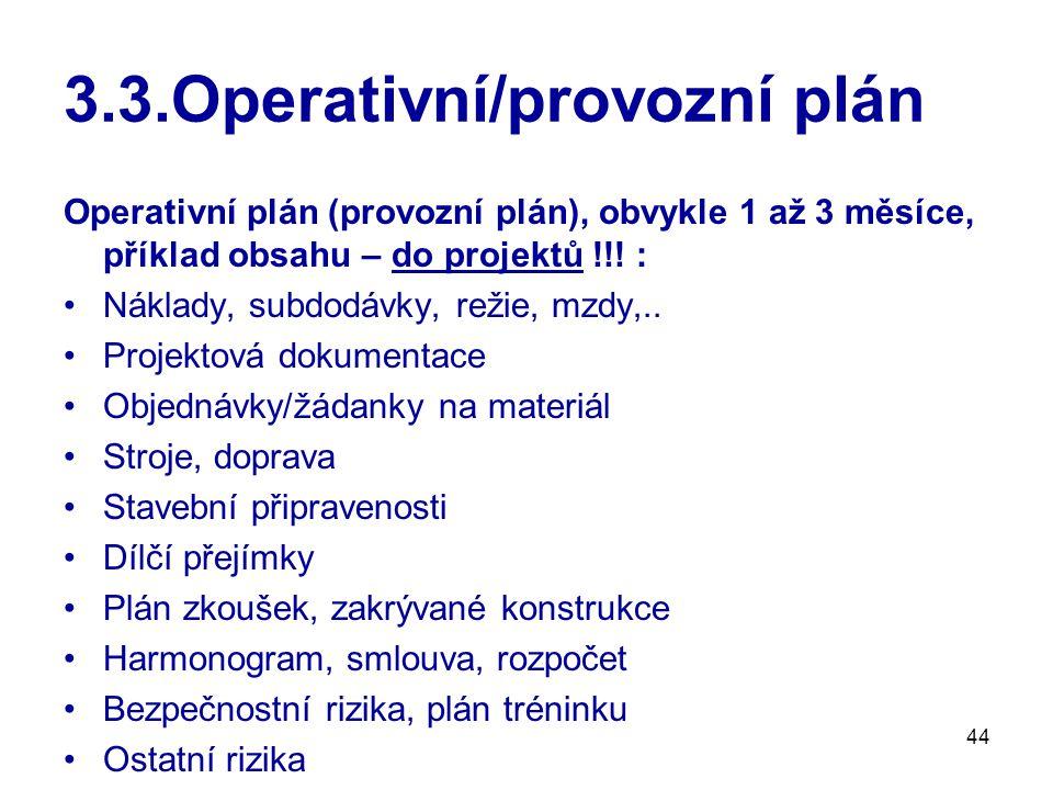 44 3.3.Operativní/provozní plán Operativní plán (provozní plán), obvykle 1 až 3 měsíce, příklad obsahu – do projektů !!! : Náklady, subdodávky, režie,