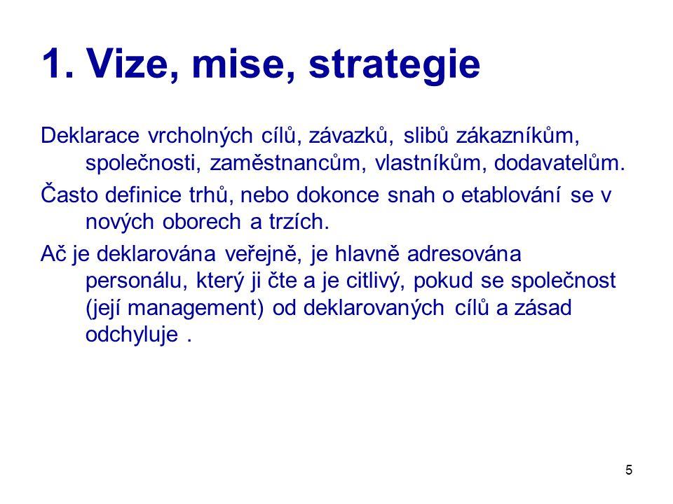 5 1. Vize, mise, strategie Deklarace vrcholných cílů, závazků, slibů zákazníkům, společnosti, zaměstnancům, vlastníkům, dodavatelům. Často definice tr