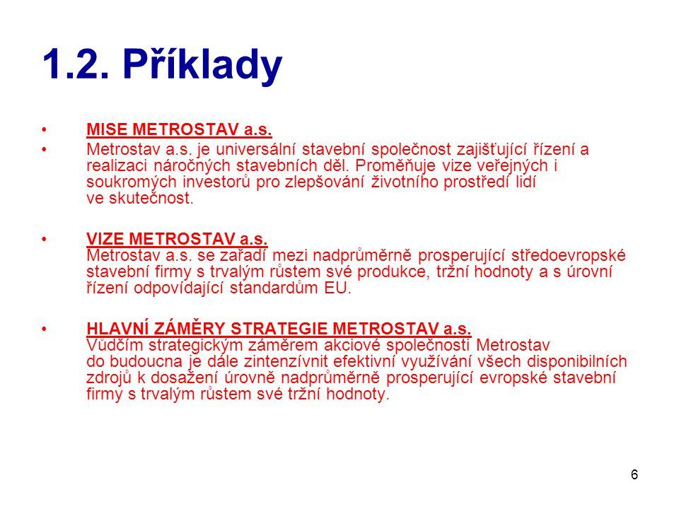 6 1.2.Příklady MISE METROSTAV a.s. Metrostav a.s.
