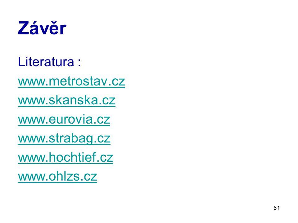 61 Závěr Literatura : www.metrostav.cz www.skanska.cz www.eurovia.cz www.strabag.cz www.hochtief.cz www.ohlzs.cz
